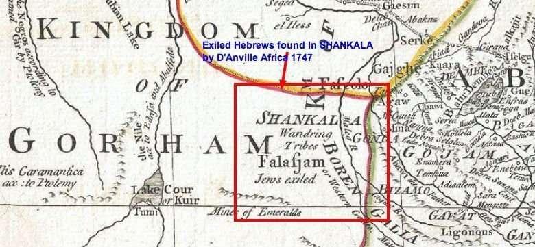 Kingdom of SHANKALA Falafjam Jews Exiled Danvilles Map of Africa